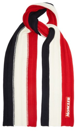Moncler Tricolour Ribbed-knit Wool Scarf - Mens - Red