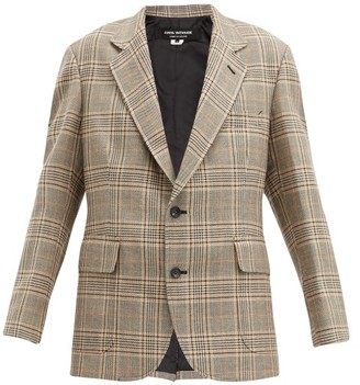 Junya Watanabe Single-breasted Elbow-patch Checked Tweed Blazer - Beige Multi