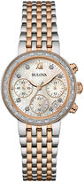 Bulova Diamonds Maiden Lane Womens Diamond-Accent Chronograph Bracelet Watch 98R215
