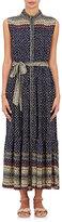 Sea Women's Silk Georgette Belted Maxi Dress-NAVY