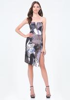 Bebe Print Asymmetric Hem Dress