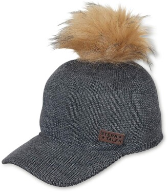 Sterntaler Girls' Baseball Cap with Fur Pompon Age: 4-7 Years Size: 55/57 cm Anthracite Grey
