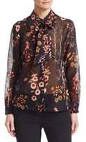 Emporio Armani Floral Neck-Tie Shirt