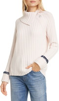 Rebecca Taylor Foldover Neck Wool & Cotton Blend Sweater