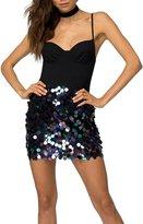 Wagiz Womens Sparkle Sequin Bodycon Mini Party Skirt