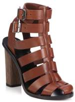 Vince Nicolette Leather Caged Gladiator Sandals