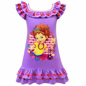 Thombase Cute Cartoon Butterfly Girls' Fancy Nightgown Nightdress (pink1 130(5-6years))