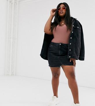 Asos DESIGN Curve denim pelmet skirt in washed black