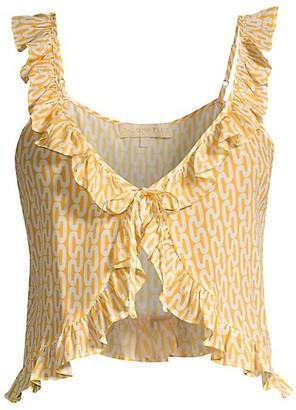 PALOMA BLUE Ali Printed Ruffle Silk-Blend Crop Top