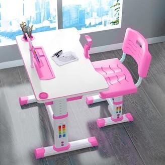 "Isabelle & MaxTM Muriel Children Study 27.5"" Art Desk and Chair Set Isabelle & Max Color: Pink"