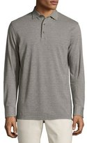 Peter Millar Oxford Long-Sleeve Polo Shirt, Argento