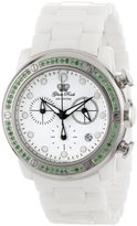 Glam Rock Women's GR50124-DBZ Aqua Rock Chronograph White Dial Green Peridot Accented White Ceramic Watch