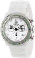 Glam Rock Women's GR50124-DBZ Aqua Rock Chronograph White Dial Green Peridot Accented White Ceramic Watch