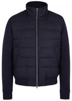 Herno Navy Panelled Wool Bomber Jacket