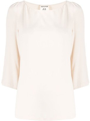Semi-Couture Lightweight Boat Neck Blouse