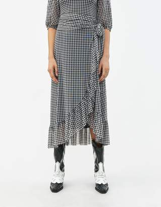 Ganni Mesh Check Wrap Skirt