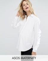 Asos Cotton Shirt with Ruffle Sleeve