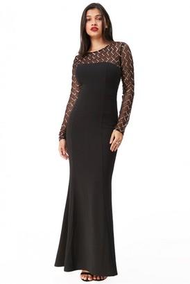 Goddiva Diamond & Sequin Contrast Maxi Dress - Black