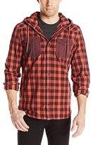Buffalo David Bitton Men's Sinzl Long Sleeve Hooded Woven Shirt