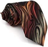Shlax & Wing Shlax&Wing Geomeric Red Brown Black Mens Ties Silk Necktie New Skinny Extra Long