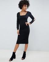 Asos Design DESIGN rib bodycon dress with square neck and button slash sleeve