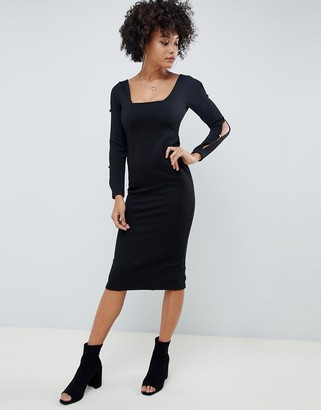 Asos DESIGN rib bodycon dress with square neck and button slash sleeve