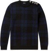 Balmain - Slim-fit Checked Merino Wool Sweater