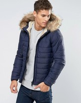 Schott Quilted Padded Hooded Jacket Detachable Faux Fur Trim
