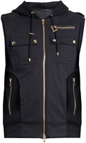 Balmain Panelled wool-blend twill hooded gilet