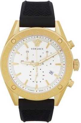 Versace Gold and Black V-Chrono Watch