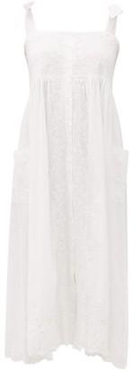 Juliet Dunn Mirror-work Floral-embroidered Cotton Midi Dress - White