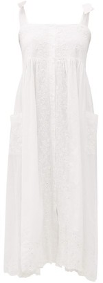 Juliet Dunn Mirror-work Floral-embroidered Cotton Midi Dress - Womens - White