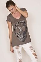 Lauren Moshi Skull Chain Short Sleeve Swing V-Neck in Grey