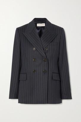 ALEXACHUNG E.vill Boy Double-breasted Pinstriped Wool-blend Blazer - Navy