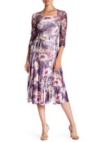 Komarov Squareneck 3/4 Sleeve Printed Fit & Flare Dress