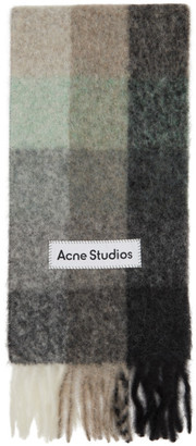 Acne Studios Green and Grey Check Scarf