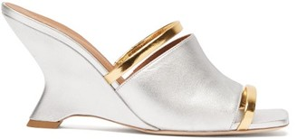 Malone Souliers Demi Metallic-leather Wedge Mules - Silver