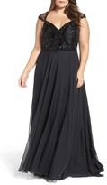 Mac Duggal Plus Size Women's Beaded Lace Bodice Gown