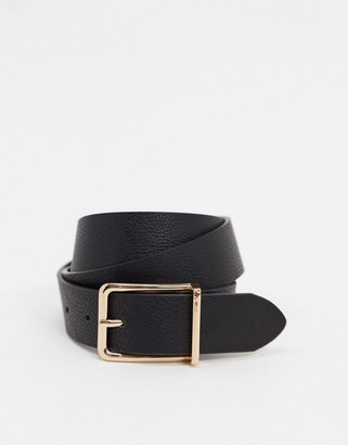 ASOS DESIGN slim belt in black pebble faux leather with gold box buckle