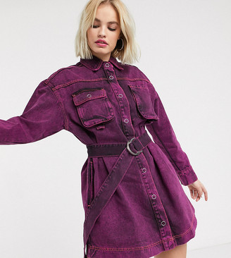 Collusion denim dress in pink overdye with belt