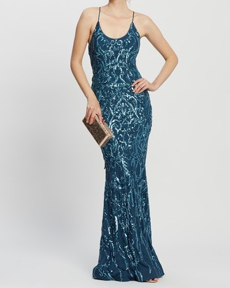 Bariano Serpentine Scoop Pattern Sequin Gown