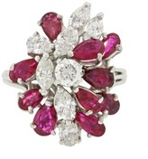Platinum With 1.0ctw Ruby & 1.5ctw Diamond Chunky Cocktail Ring