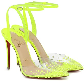 Christian Louboutin Spikaqueen 100 leather and PVC pumps