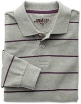 Charles Tyrwhitt Grey and Purple Stripe Pique Long Sleeve Cotton Polo Size XS