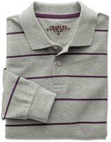 Charles Tyrwhitt Grey and Purple Stripe Pique Long Sleeve Cotton Polo Size XXL