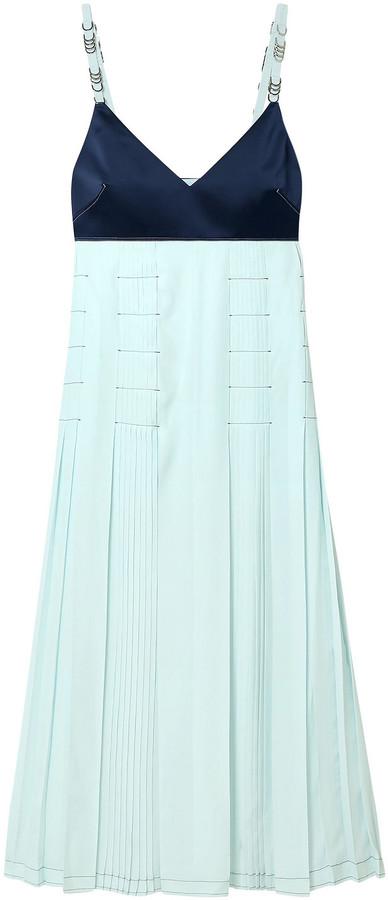 Cédric Charlier Pleated Crepe De Chine And Charmeuse Midi Dress