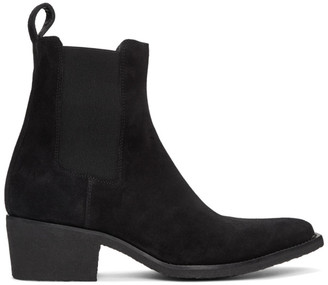 Amiri Black Suede Pointy Toe Chelsea Boots