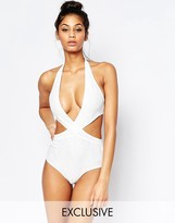 Wolfwhistle Wolf & Whistle Lace Plunge Swimsuit