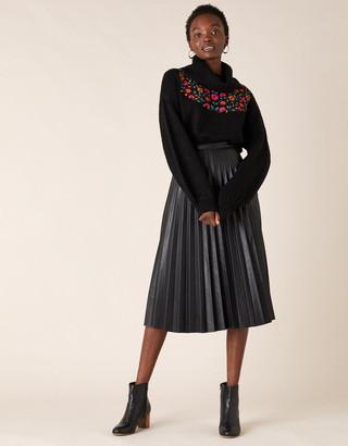 Monsoon Pleated Leather-Look Midi Skirt Black