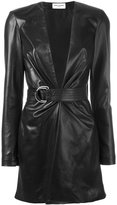 Saint Laurent belted leather mini dress - women - Silk/Leather - 40